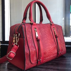 Fire Engine Red Dragon/Python Doctor's Bag Purse